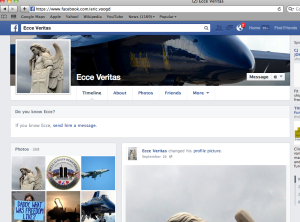 Voogd's facebook page as Ecce Veritas.